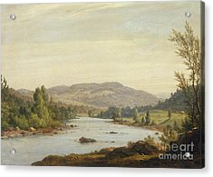 Landscape With River Acrylic Print by Sanford Robinson Gifford