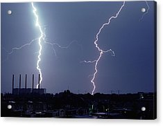 Lightning Over City Acrylic Print by John Foxx