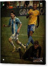 Lionel Messi Breaking Raphael Cabrals Ankles II Acrylic Print by Lee Dos Santos