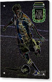 Lionel Messi Kicking Viii Acrylic Print by Lee Dos Santos