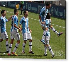 Lionel Messi The Hug Acrylic Print by Lee Dos Santos