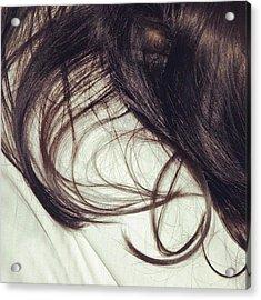 Long Dark Hair Of A Woman On White Pillow Acrylic Print