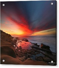 Long Exposure Sunset In La Jolla Acrylic Print by Larry Marshall