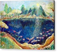 Lotus Lake Acrylic Print by Ashleigh Dyan Bayer