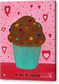 M And M Cupcake Acrylic Print by Barbara Griffin
