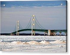 Mackinac Bridge In Winter Acrylic Print