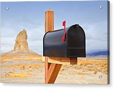 Mailbox In Desert Acrylic Print by David Buffington