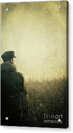 Man Alone In Autumn Field Acrylic Print by Sandra Cunningham