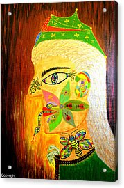 Acrylic Print featuring the painting Man In Reverse by Marie Schwarzer