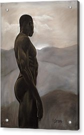 Man Looking At Sunset Acrylic Print by L Cooper