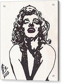 Acrylic Print featuring the drawing Marilyn Monroe by Jeremiah Colley