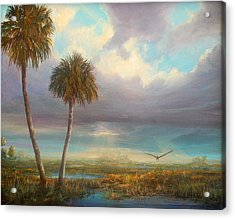 Acrylic Print featuring the painting Marsh Launch by AnnaJo Vahle