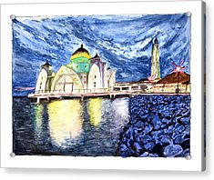 Masjid Selat Melaka Of Malaysia Acrylic Print