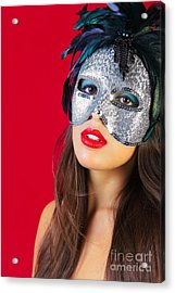 Masquerade Mask Red Background Acrylic Print by Richard Thomas