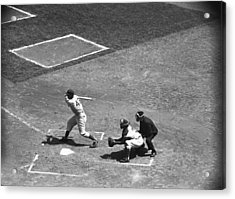 Men Playing Baseball, (b&w), Elevated View Acrylic Print by George Marks