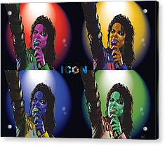 Michael Jackson Icon4 Acrylic Print by Mike  Haslam