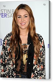 Miley Cyrus At Arrivals For Justin Acrylic Print by Everett