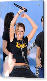 Miley Cyrus On Stage For Good Morning Acrylic Print by Everett
