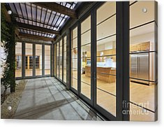 Modern Home Kitchen Through Glass Doors Acrylic Print by Jeremy Woodhouse