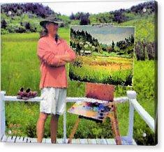 Monhegan Meadow Acrylic Print by Richard Stevens