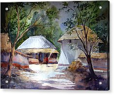 Acrylic Print featuring the painting Morning Village Light by Samiran Sarkar