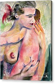 Motherhood Watercolor And Pastel Acrylic Print by Ginette Callaway