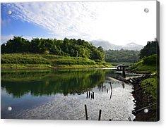 Mountain And Lake Acrylic Print by Kanoksak Detboon