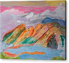Acrylic Print featuring the painting Mountains In The Clouds by Meryl Goudey