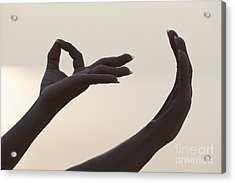Mudra Hand Gesture Acrylic Print by Roberto Morgenthaler