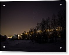 Acrylic Print featuring the photograph My City Under Orion by Matti Ollikainen