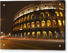 Night Lights Of The Colosseum Rome Acrylic Print by Trish Punch