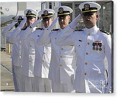 Officers Render Honors During A Change Acrylic Print by Stocktrek Images