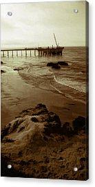 Oil Pier Acrylic Print by Ron Regalado