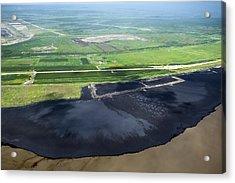 Oil Plant Settling Pond Acrylic Print by David Nunuk