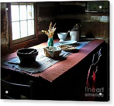 Old Cabin Table Acrylic Print by Julie Dant