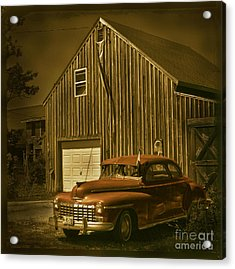 Old Car Old Barn Acrylic Print by Jim Wright