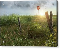 Old Country Fence On The Prairies Acrylic Print