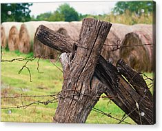 Old Cross Fence Acrylic Print by Lisa Moore