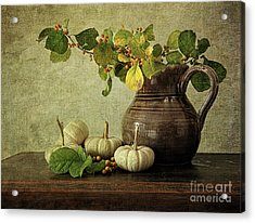 Old Pitcher With Gourds Acrylic Print by Sandra Cunningham