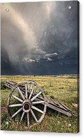 Old Prairie Wheel Cart Saskatchewan Acrylic Print by Mark Duffy