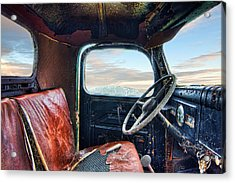 Old Truck Interior Acrylic Print by Tim Fleming