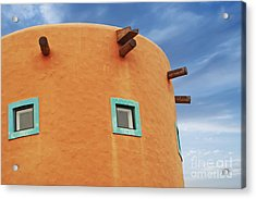 Orange Building Detail Acrylic Print by Blink Images