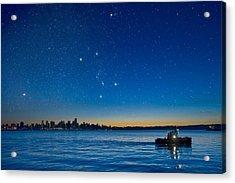 Orion Over Vancouver, Canada Acrylic Print by David Nunuk