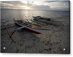 Outrigger Fishing Boats Pulled Acrylic Print by Tim Laman