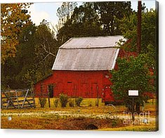 Acrylic Print featuring the photograph Ozark Red Barn by Lydia Holly