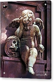 Paris Cemetery - Pere La Chaise - Cherub And Skull Acrylic Print by Kathy Fornal