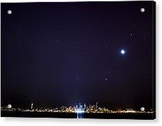 Perseid Meteor In Seattle Acrylic Print by Yoshiki Nakamura