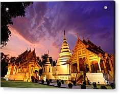 Phra Singh Temple Twilight Time Acrylic Print by Panupong Roopyai