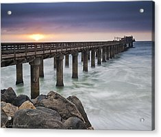 Pier At Sunset Acrylic Print by Fran Gallogly