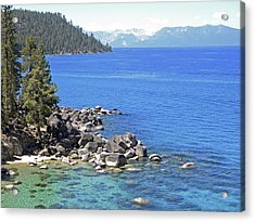 Pines Boulders And Crystal Waters Of Lake Tahoe Acrylic Print by Frank Wilson